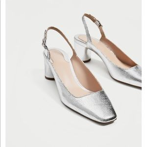 Silver Slingback Block Heel Court shoes, NWT
